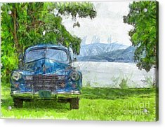Vintage Blue Caddy At Lake George New York Acrylic Print by Edward Fielding