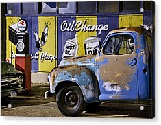 Vintage Blue Pickup And Gas Station Near Bisbee Az Acrylic Print