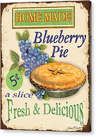 Vintage Blueberry Pie Sign Acrylic Print by Jean Plout