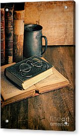 Vintage Books And Eyeglasses Acrylic Print by Jill Battaglia
