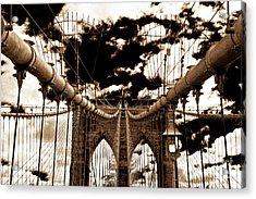 Vintage Brooklyn Bridge Acrylic Print by John Rizzuto