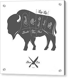 Vintage Butcher Cuts Of Bison Buffalo Acrylic Print