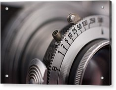 Vintage Camera Shutter Adjustment Closeup Acrylic Print by Kevin Grant