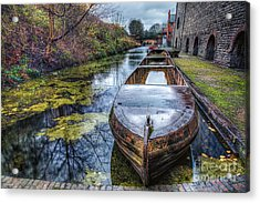 Vintage Canal Boat Acrylic Print by Adrian Evans