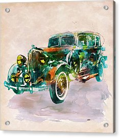 Vintage Car In Watercolor Acrylic Print by Marian Voicu