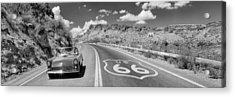 Vintage Car Moving On The Road, Route Acrylic Print by Panoramic Images