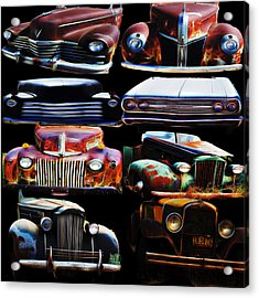 Vintage Cars Collage 2 Acrylic Print by Cathy Anderson