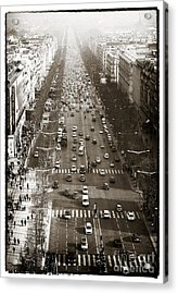 Vintage Champs Elysees Acrylic Print by John Rizzuto