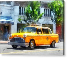 Vintage Checkered Cab Acrylic Print by Susan Savad