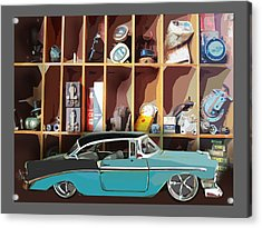 Vintage Chevy Belair With Retro Auto Parts Acrylic Print by John Fish