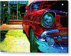 Vintage Chevy Car Art Alley Cat Red Acrylic Print
