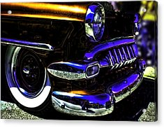 Vintage Chevy Grill  Toothy Chrome Copper Acrylic Print by Lesa Fine