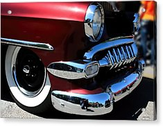 Vintage Chevy Grill  Toothy Chrome Acrylic Print by Lesa Fine