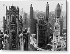 Vintage Chicago Skyline Acrylic Print by Horsch Gallery