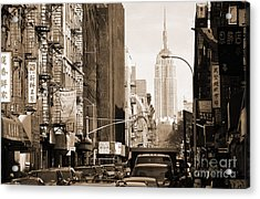 Vintage Chinatown And Empire State Acrylic Print