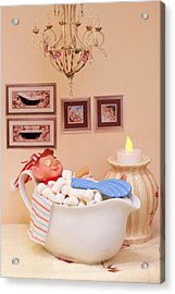 Vintage Christmas Elf Bubble Bath Acrylic Print