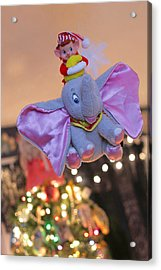 Vintage Christmas Elf Flying With Dumbo Acrylic Print