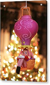 Vintage Christmas Elf Hot Air Balloon Ride Acrylic Print