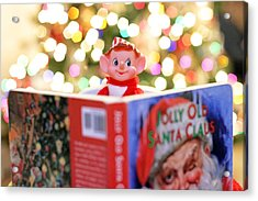 Vintage Christmas Elf Reading A Book Acrylic Print by Barbara West
