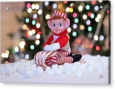 Vintage Christmas Elf Sliding Acrylic Print by Barbara West