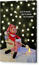 Vintage Christmas Elf Toasting A Marshmallow Acrylic Print by Barbara West
