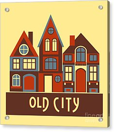 Vintage City Houses On Yellow Background Acrylic Print