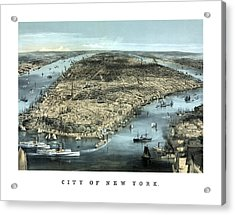 Vintage City Of New York Acrylic Print by War Is Hell Store