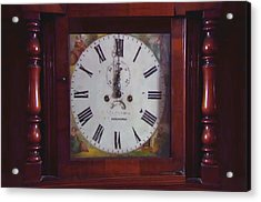 Vintage Clock Wallclock Swiss Time Period Minute Second Hour Calculate Border Frame Wooden Case Wood Acrylic Print