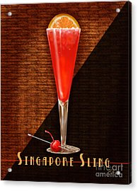 Vintage Cocktails-singapore Sling Acrylic Print