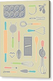 Vintage Cooking Utensils With Pastel Colors Acrylic Print by Mitch Frey