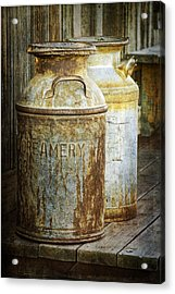 Vintage Creamery Cans In 1880 Town In South Dakota Acrylic Print by Randall Nyhof