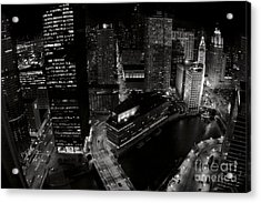 Vintage 2003  Downtown Chicago At Night Acrylic Print