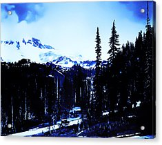 Acrylic Print featuring the photograph Vintage... Driving Up To Mount Rainier Early 1900 Era... by Eddie Eastwood