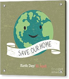 Vintage Earth Day Poster. Cartoon Earth Acrylic Print by Pashabo