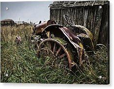 Vintage Farm Tractor Color Acrylic Print by Theresa Tahara