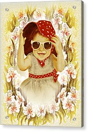 Acrylic Print featuring the painting Vintage Fashion Girl by Irina Sztukowski
