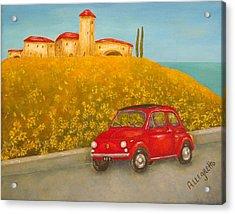 Vintage Fiat 500 Acrylic Print by Pamela Allegretto