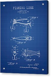Vintage Fishing Lure Patent From 1956 - Blueprint Acrylic Print by Aged Pixel