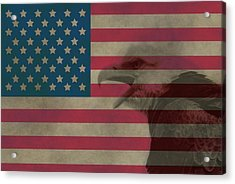 Vintage Flag With Bald Eagle Acrylic Print by Dan Sproul