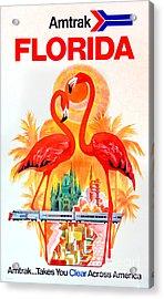 Vintage Florida Amtrak Travel Poster Acrylic Print