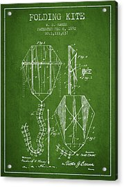 Vintage Folding Kite Patent From 1892 - Green Acrylic Print by Aged Pixel