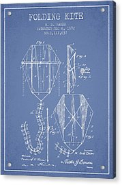 Vintage Folding Kite Patent From 1892 -light Blue Acrylic Print by Aged Pixel