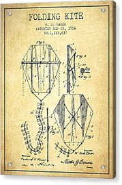 Vintage Folding Kite Patent From 1914 -vintage Acrylic Print by Aged Pixel