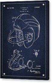 Vintage Football Helment Patent Drawing From 1935 Acrylic Print