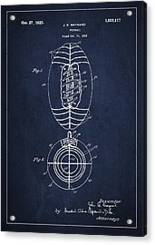 Vintage Football Patent Drawing From 1923 Acrylic Print by Aged Pixel