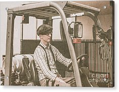 Vintage Forklift Driver Acrylic Print by Jorgo Photography - Wall Art Gallery