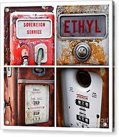 Vintage Fuel Pumps Collage Acrylic Print by Lawrence Burry