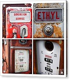Vintage Fuel Pumps Collage Acrylic Print