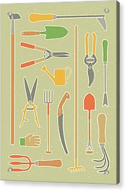 Vintage Garden Tools Acrylic Print by Mitch Frey