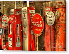Vintage Gasoline Pumps With Coca Cola Sign Acrylic Print by Bob Christopher